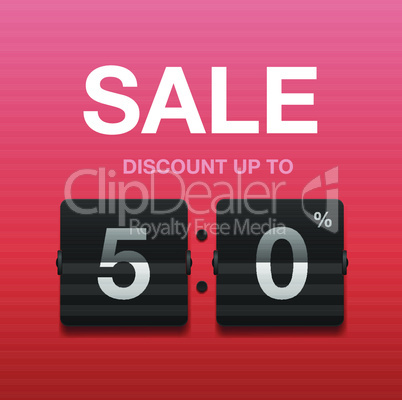 Sale, discount poster, flap scoreboard, vector illustration.