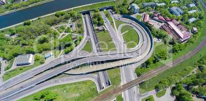 Aerial view of a freeway intersection