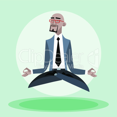 African businessman quiet hangs in the air like a yogi