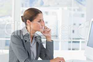 Concentrate businesswoman using computer