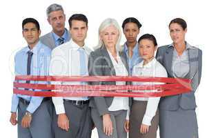 Unhappy business people surrounding by red strip