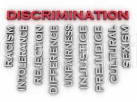 3d image Discrimination  issues concept word cloud background