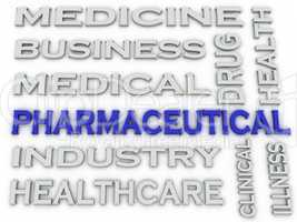 3d image Pharmaceutical industry  issues concept word cloud back