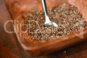 brown sugar in wood bowl