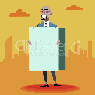 African businessman with an advertising poster with place for text