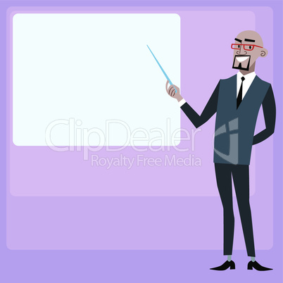 African businessman holding presentation screen