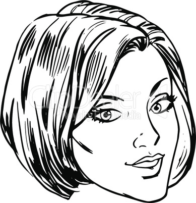 Beautiful young woman face smile retro line art