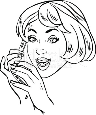 Young woman talking on smartphone retro line art