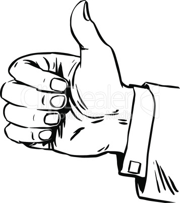 Gesture is great hand thumb quality hitchhiking retro line art