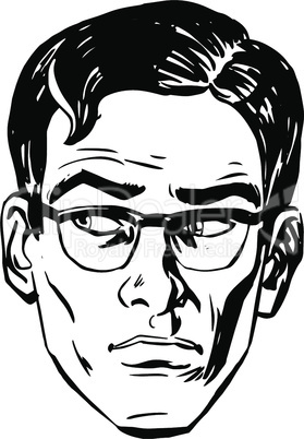 Anxious emotional face men fear the uncertainty of the eye retro line art