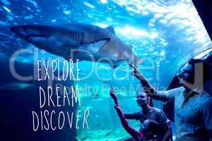 Composite image of explore, dream, discover