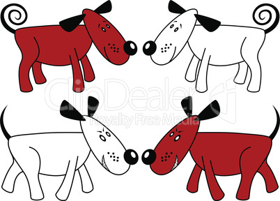 Red and white funny dogs