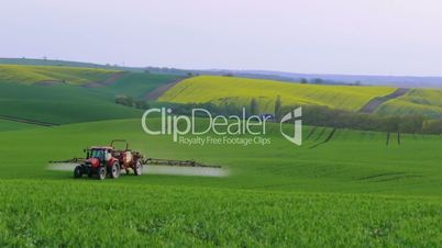 Tractor on Hilly Field