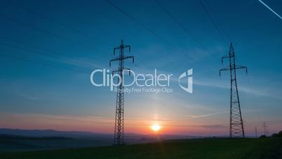Power Line and Sunrise. Time Lapse