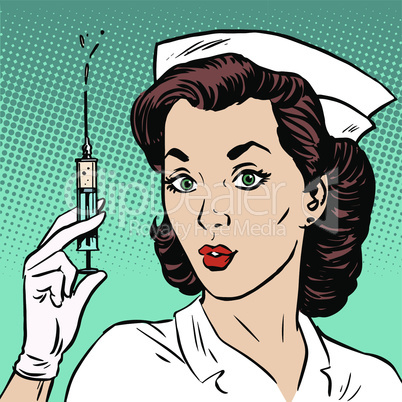 Retro nurse gives an injection syringe medicine health medicine