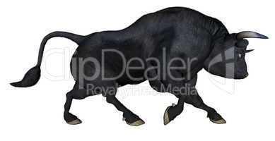 Bull charging - 3D render