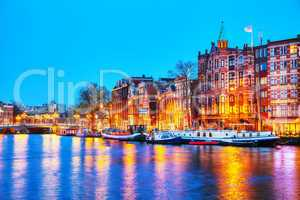 Night city view of Amsterdam