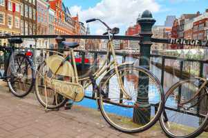 Bicycles parked near the floating flower market in Amsterdam