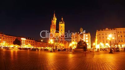 Market Square of Krakow at Night. Timelapse