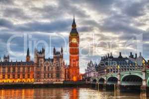London with the Elizabeth Tower and Houses of Parliament