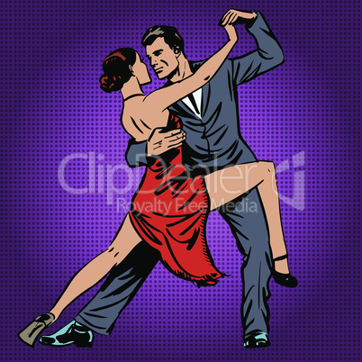 man and woman passionately dancing the tango pop art