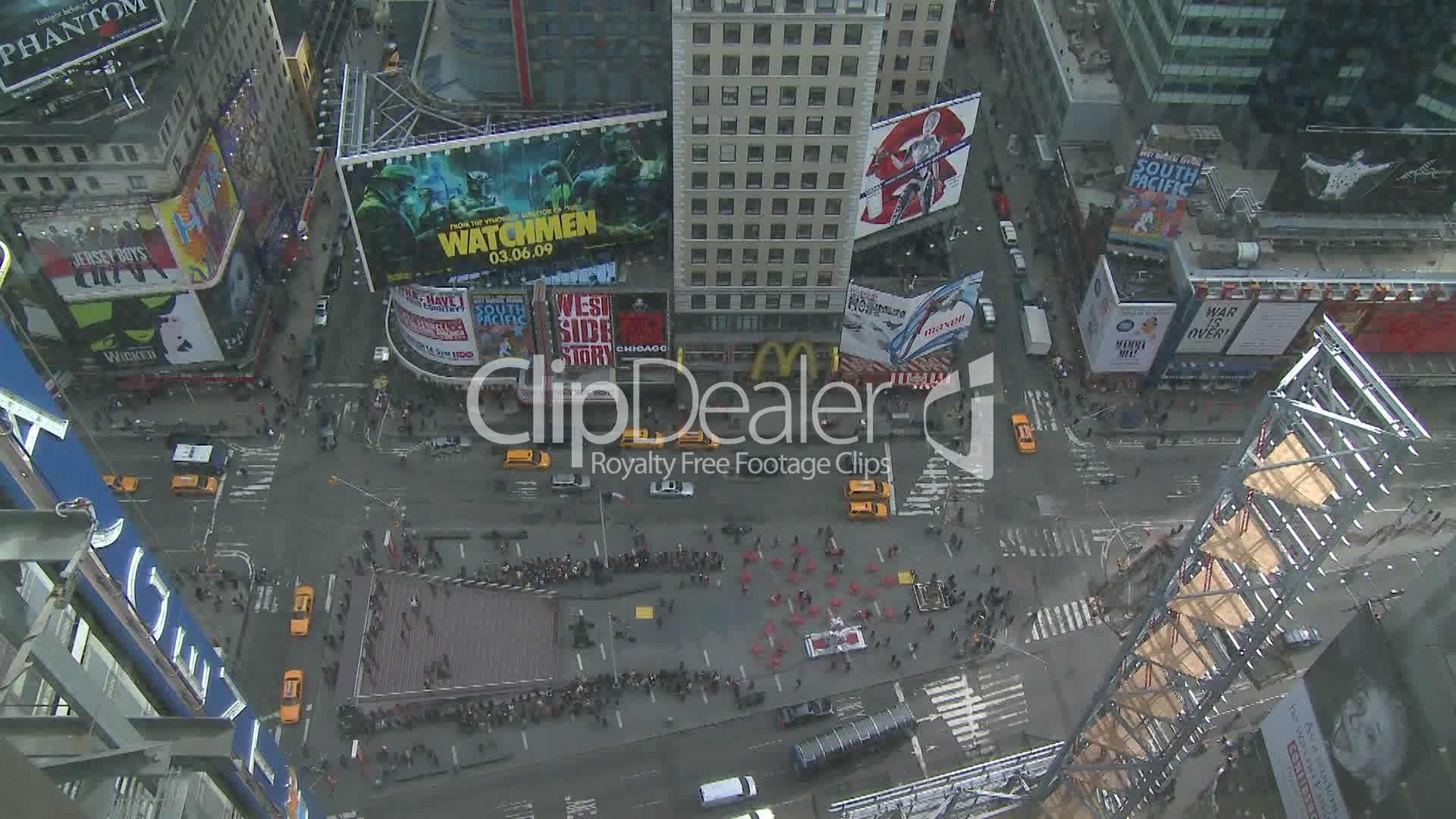 NYC Times Square Traffic Bird's Eye: Royalty-free video and stock
