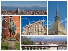 Turin landmarks collage
