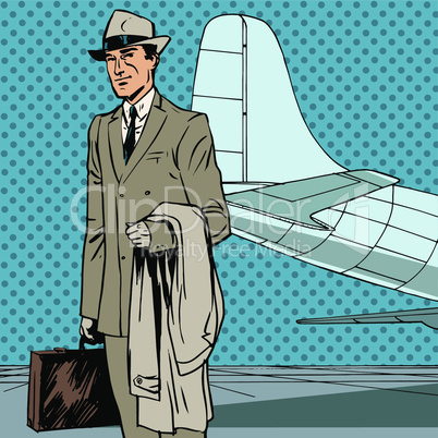 Male passenger air traveler business trip businessman pop art retro