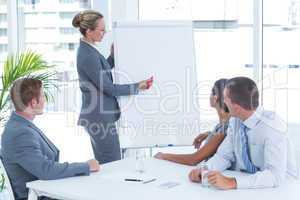 Manager presenting whiteboard to his colleagues