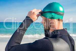 Swimmer getting ready at the beach