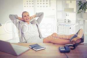 Relax businesswoman using laptop