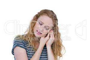 Pretty blonde woman having ache