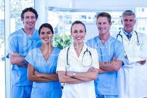 Medical team smiling at camera together