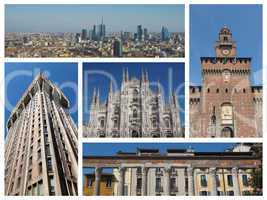 Milan landmarks collage