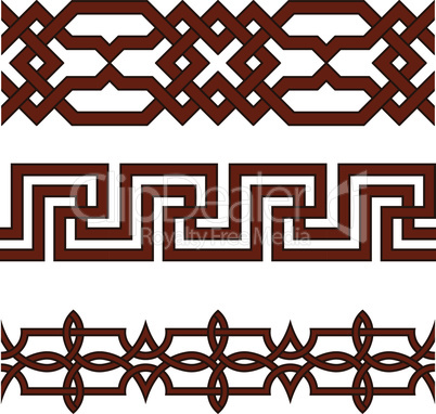 Oriental geometrical seamless borders