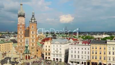 Market Square of Krakow. Aerial View. Timelapse