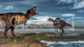 Tyrannosaurus rex and saurolophus dinosaurs - 3D render