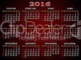 calendar for 2016 in Sweden on claret