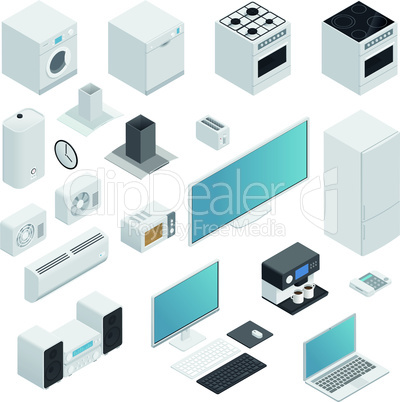 Household appliances isometric set