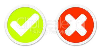 Buttons rot grün Zustimmen oder ablehnen