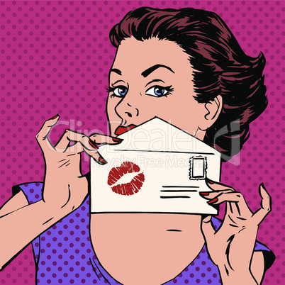 girl with the envelope for the letter and kiss lipstick pop art retro