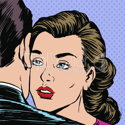 Woman hugging man with the sad face parting love Dating sadness pop art retro