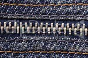 Jeans zipper close up