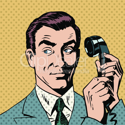 Male businessman talking on the phone style pop art retro