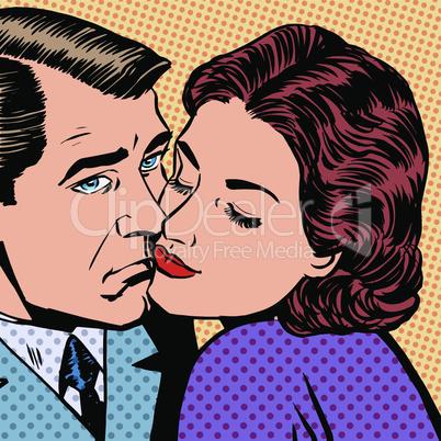 Woman hugging a sad man style pop art retro