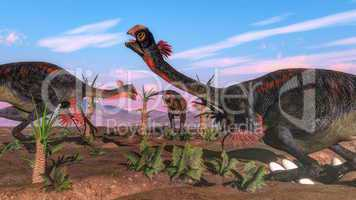 Tyrannosaurus rex attacking gigantoraptor dinosaur and eggs - 3D render