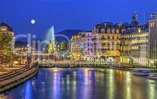 Urban view with famous fountain, Geneva, Switzerland, HDR
