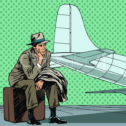 Male passenger waiting for a flight at the airport travel trip style art pop retro