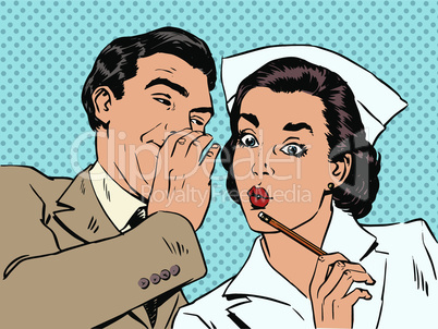 diagnosis patient nurse and male gossip surprise conversation style art pop retro