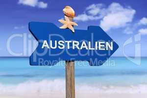 Australien mit Strand und Meer in den Ferien im Sommer